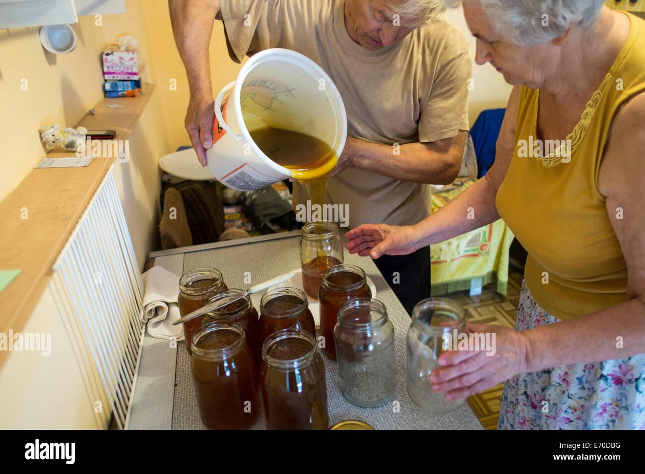 Family run apiary in rural Poland - Stock Image
