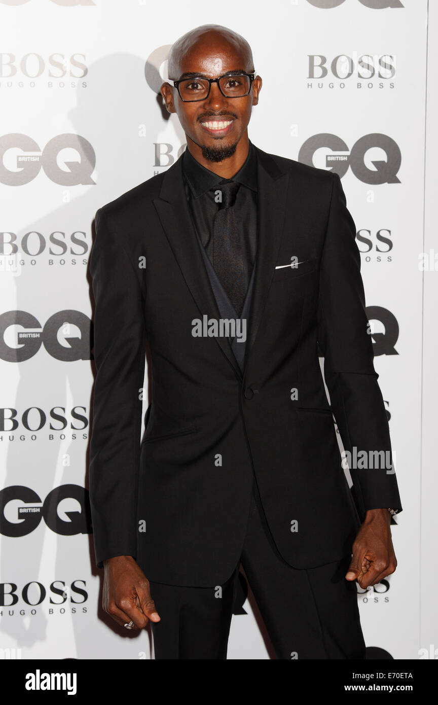 Mo Farah arrives for the GQ Men Of The Year Awards 2014. - Stock Image