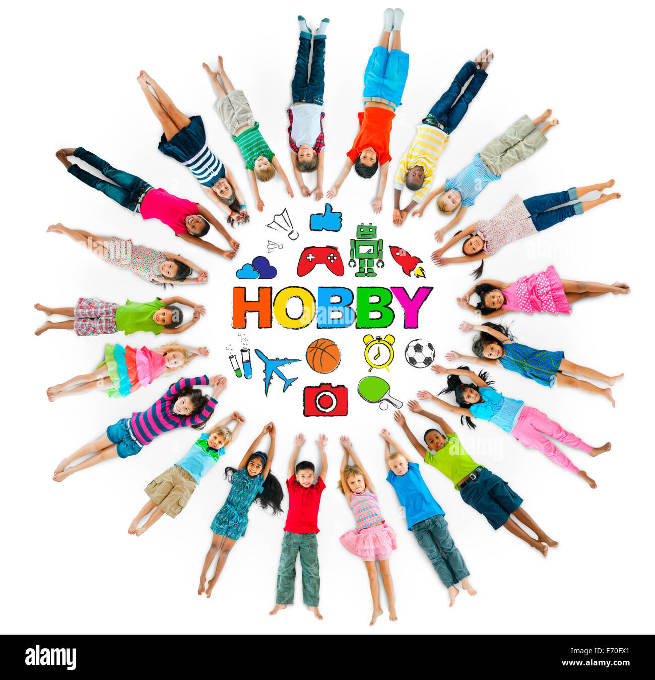 Group of Children Circle with Hobby Symbols - Stock Image