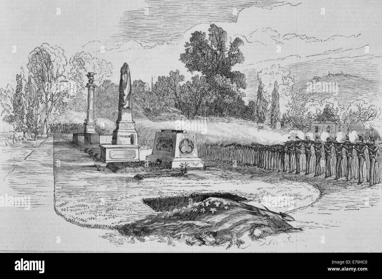 The Last honors of the grave - Burial of General Custer at West Point - 1887 - Stock Image