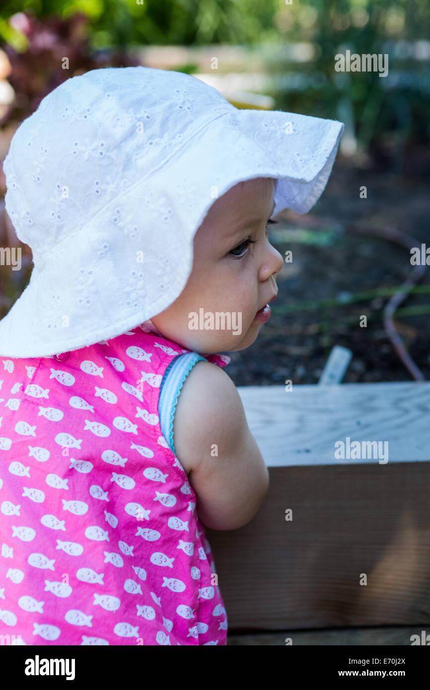 Cute baby girl exploring vegetables in organic urban garden. - Stock Image