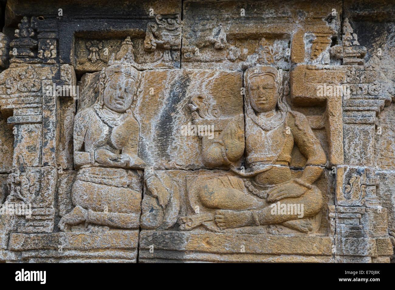 Borobudur bas relief stock photos