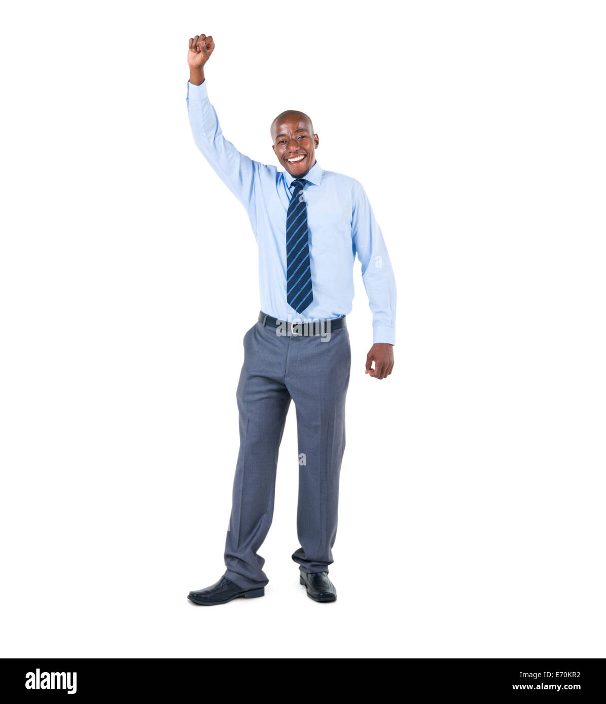 A Cheerful Businessman Celebrating with his Arms Raised - Stock Image