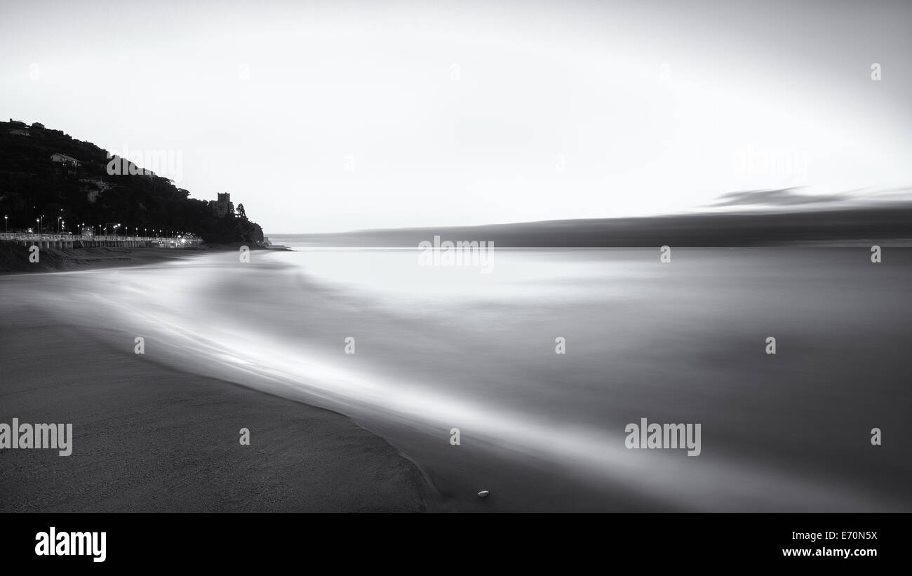 Velvety beach at Finale Ligure, Italy, Europe, EU - Stock Image