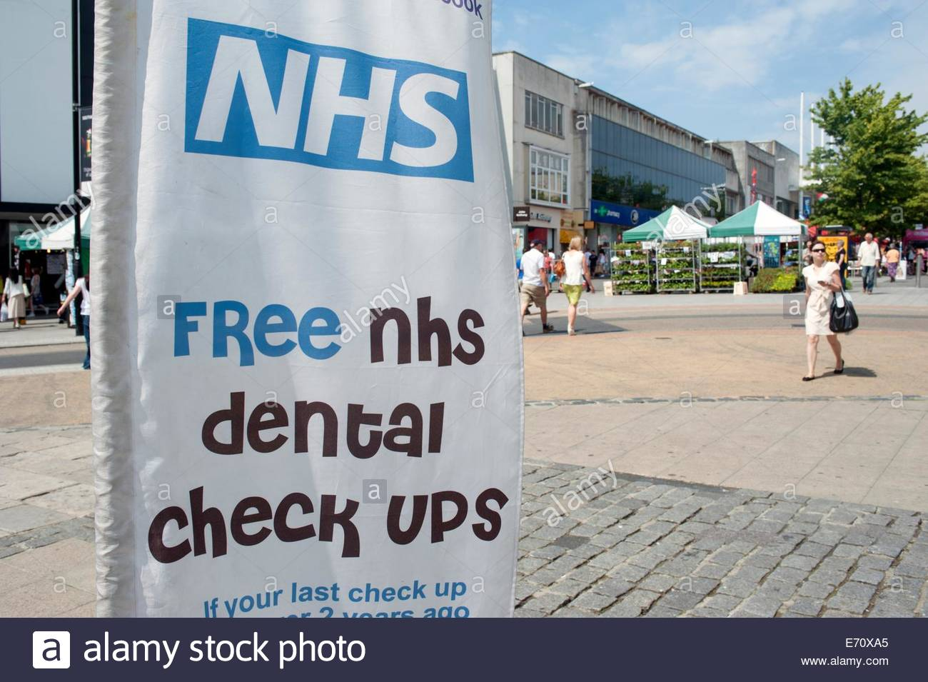 Southampton UK Stall promoting Free NHS dental check-ups. - Stock Image