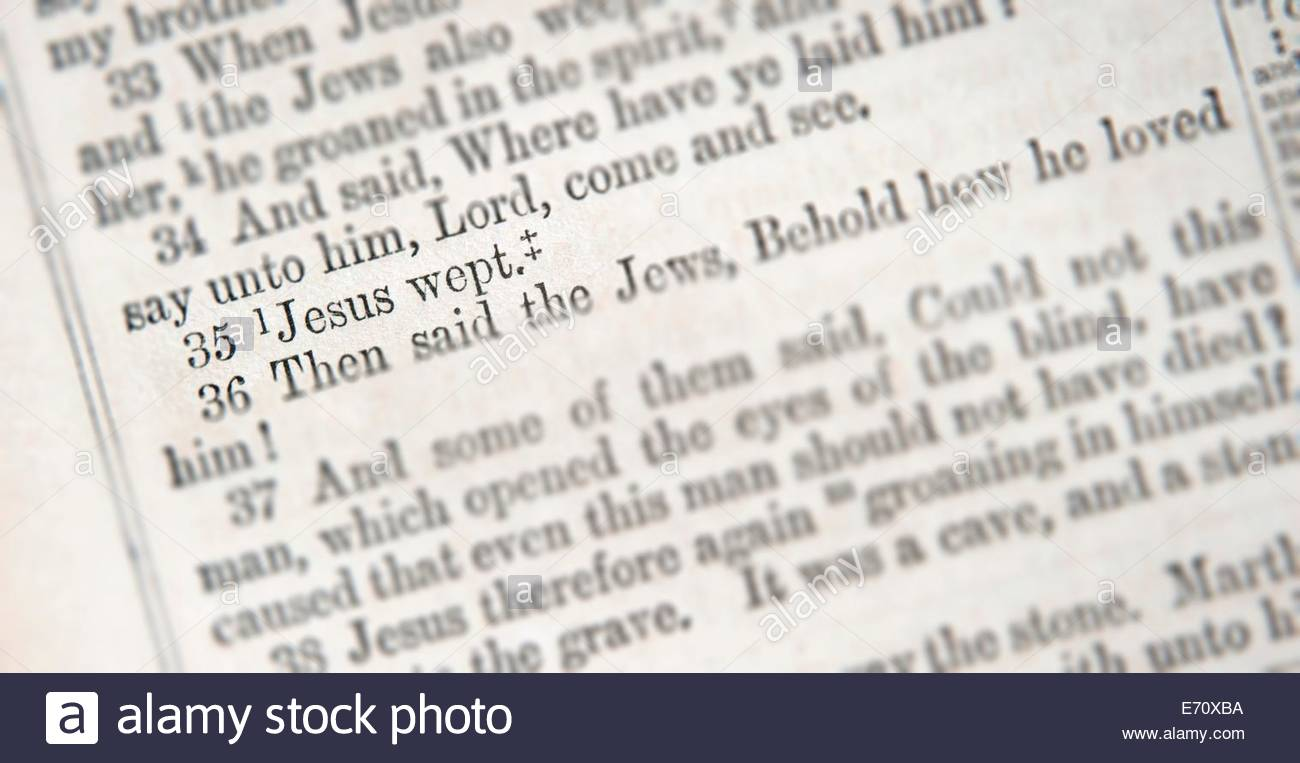 Bible verse. John 11:35. Jesus Wept. Tilt shift effect. - Stock Image