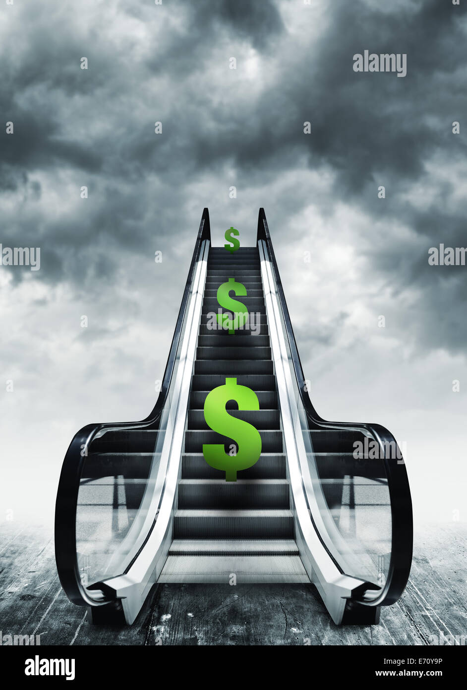 Dollar symbol on escalators. Currency concept, inflation and deflation, finance and exchange rate. - Stock Image