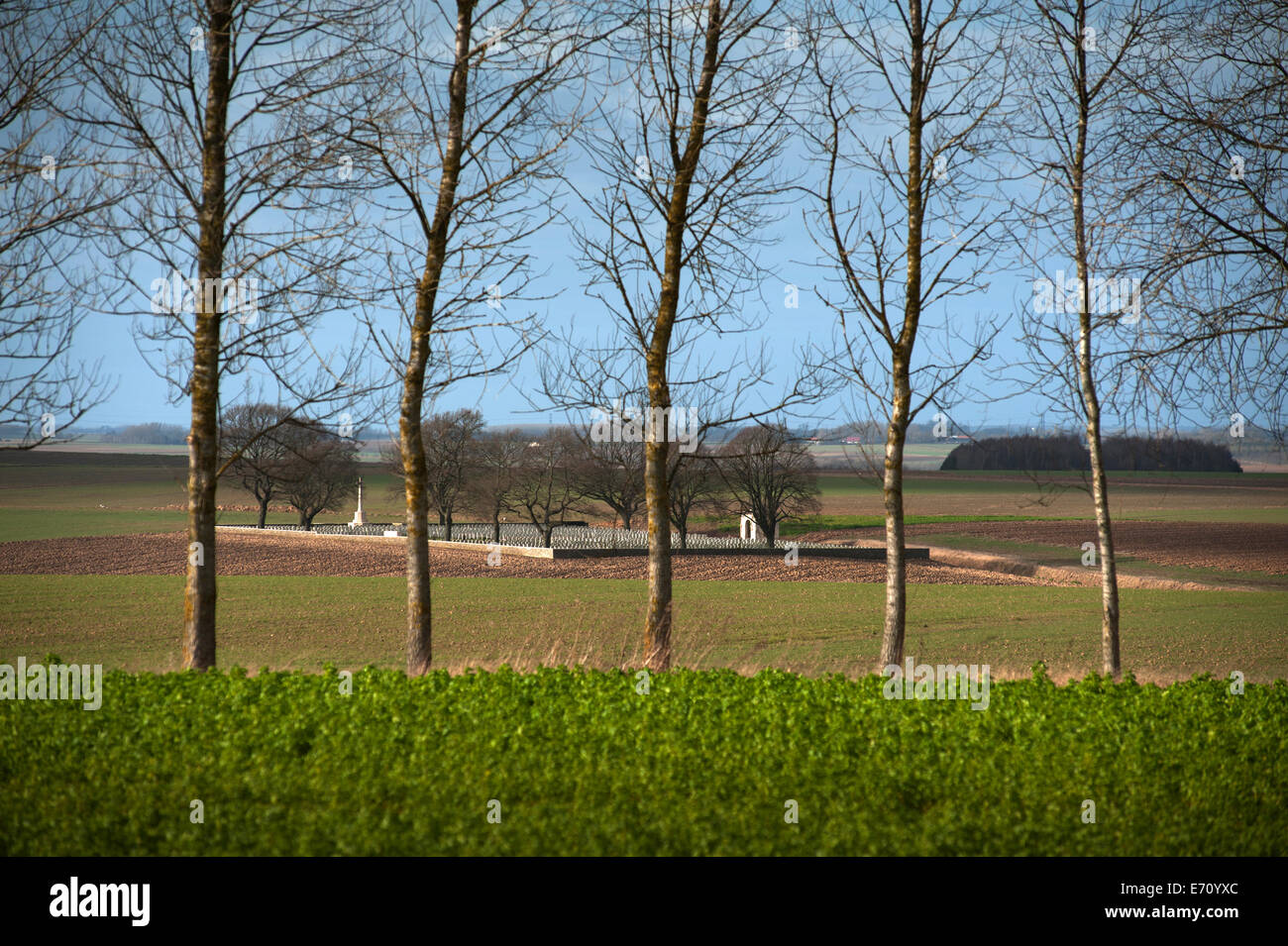 Somme WW1 Battlefield, July 1st-November 1916, France. Courcellette British Cemetery from the Albert-Bapaume Road. - Stock Image