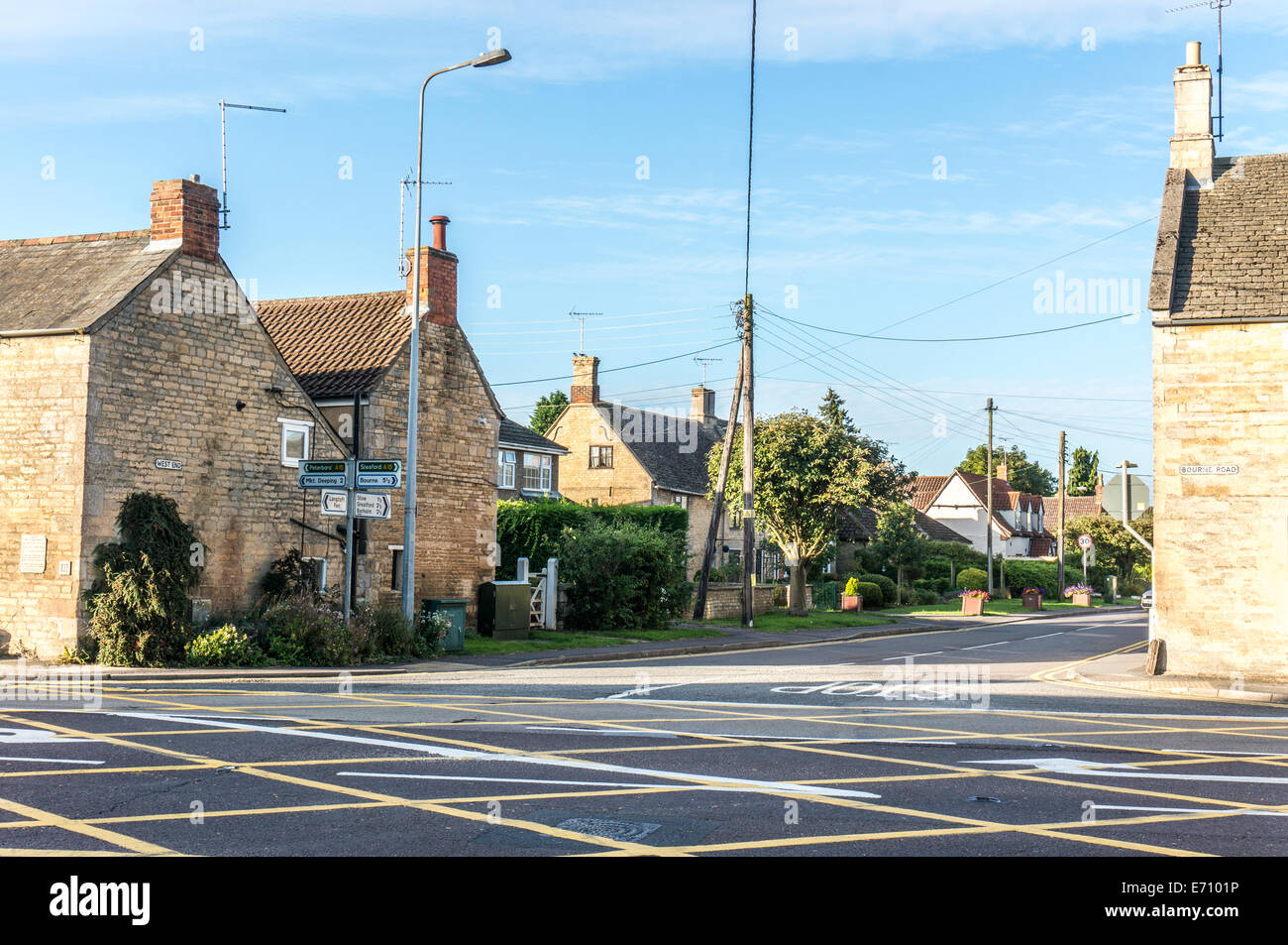 A15 crossroads looking onto West End, Langtoft, Lincolnshire, England, UK. - Stock Image