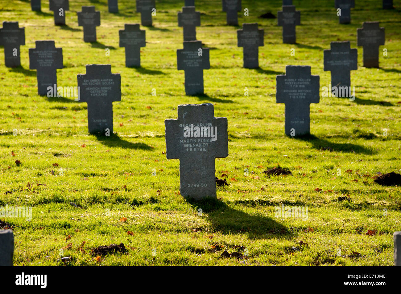Somme WW1 Battlefield, July 1st-November 1916, France. German Military Cemetery at Rancourt ( Rancourt Soldatenfriedhof - Stock Image