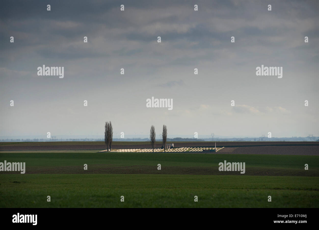 Somme WW1 Battlefield, July 1st-November 1916, France. Guillemont Road CWGC Cemetery,Guillemont. February 2014 Caption - Stock Image