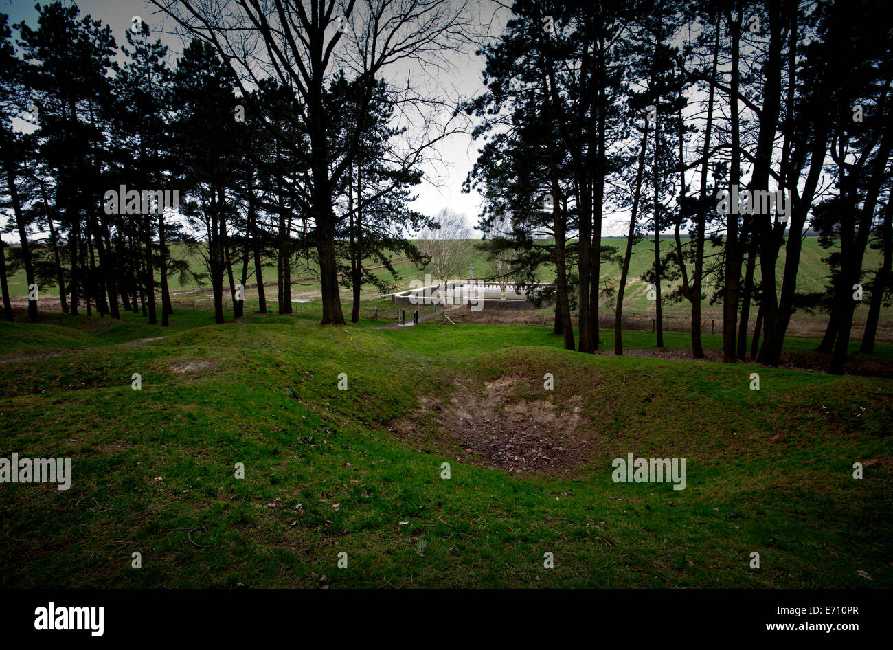 Somme WW1 Battlefield, July 1st-November 1916, France. Sheffield Memorial Park. February 2014 Seen Here: Railwat - Stock Image