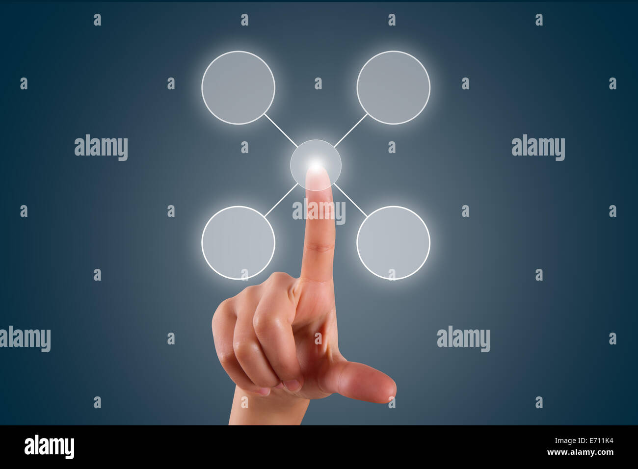 Young female hand finger touching, pressing or choosing selection list in digital screen on dark background. Stock Photo