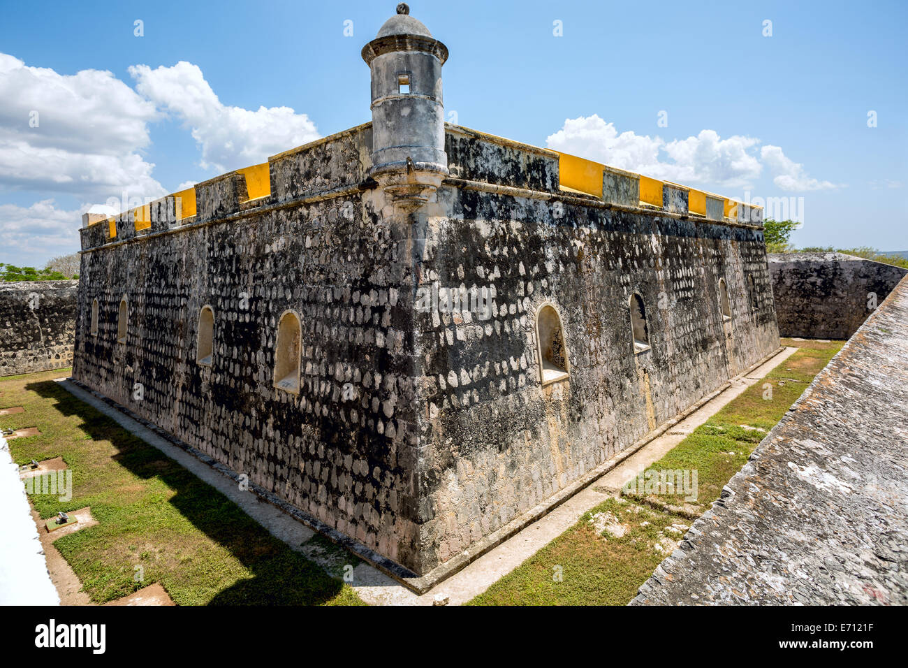 old Spanish fort built of stone surrounded by ravine, Campeche Mexico Stock Photo