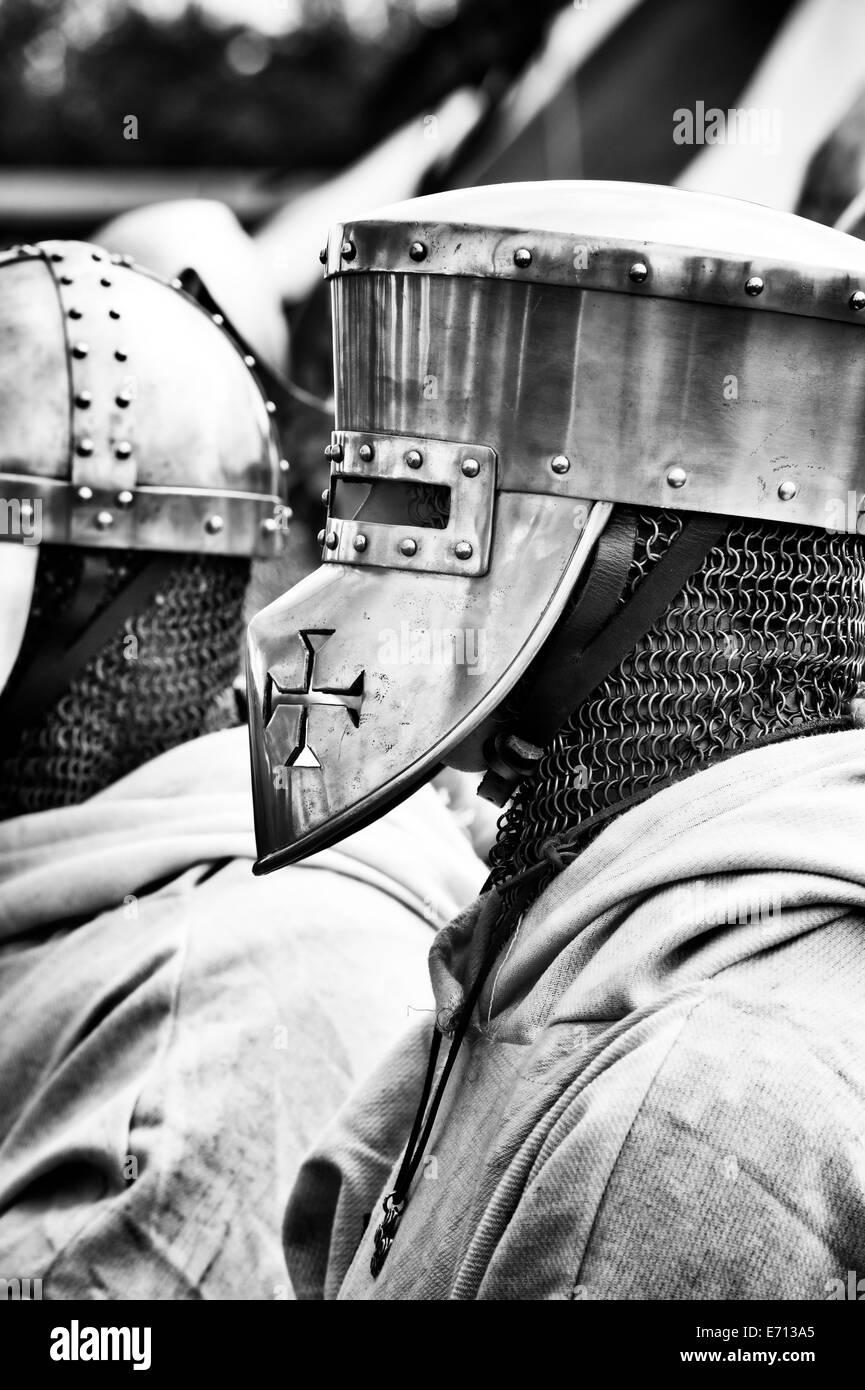 Crusader in armor at a historical re enactment. Detling, Kent, UK - Stock Image