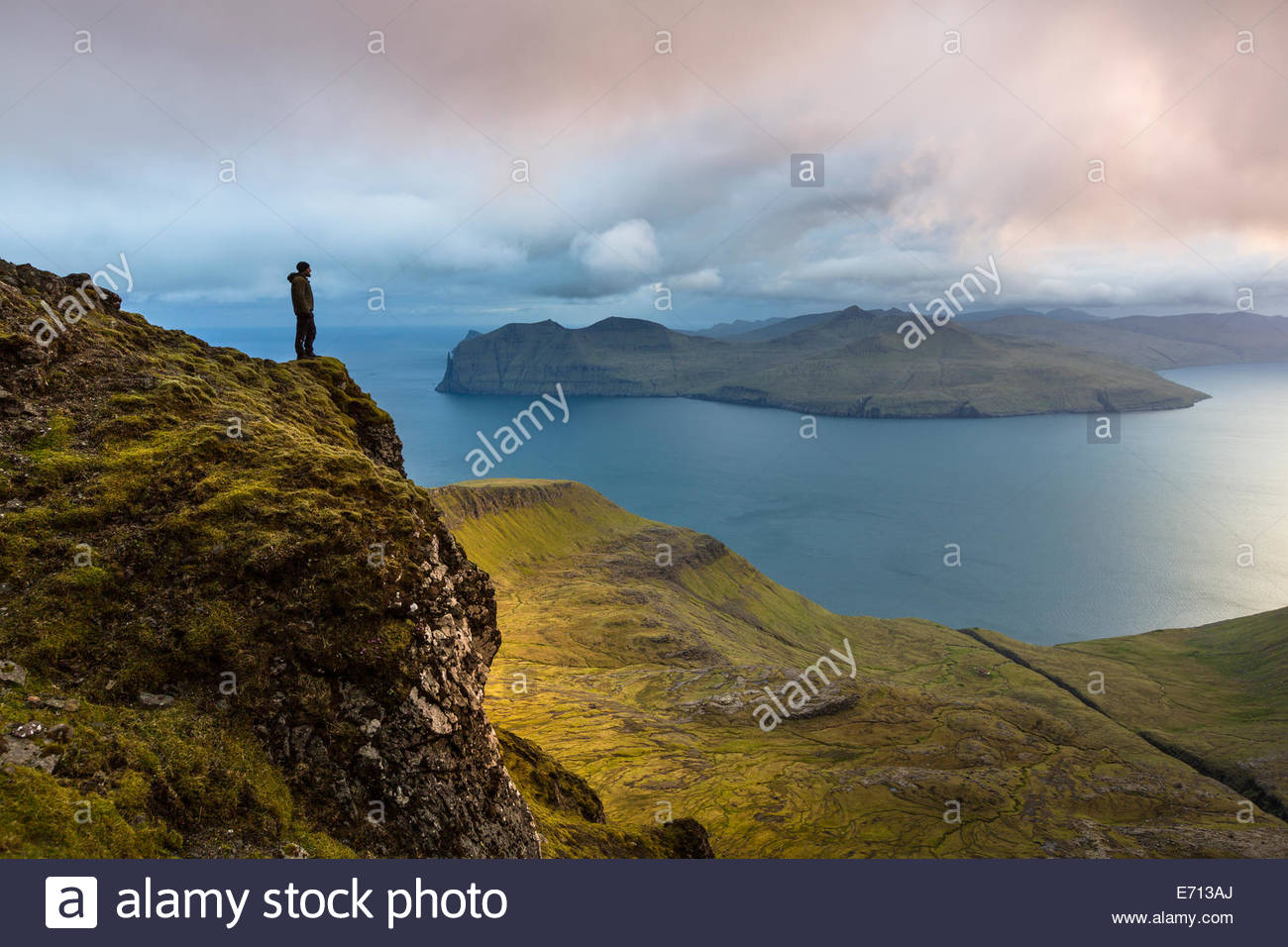 Sornfelli, Vagar island in background, Faroe Islands, Denmark - Stock Image