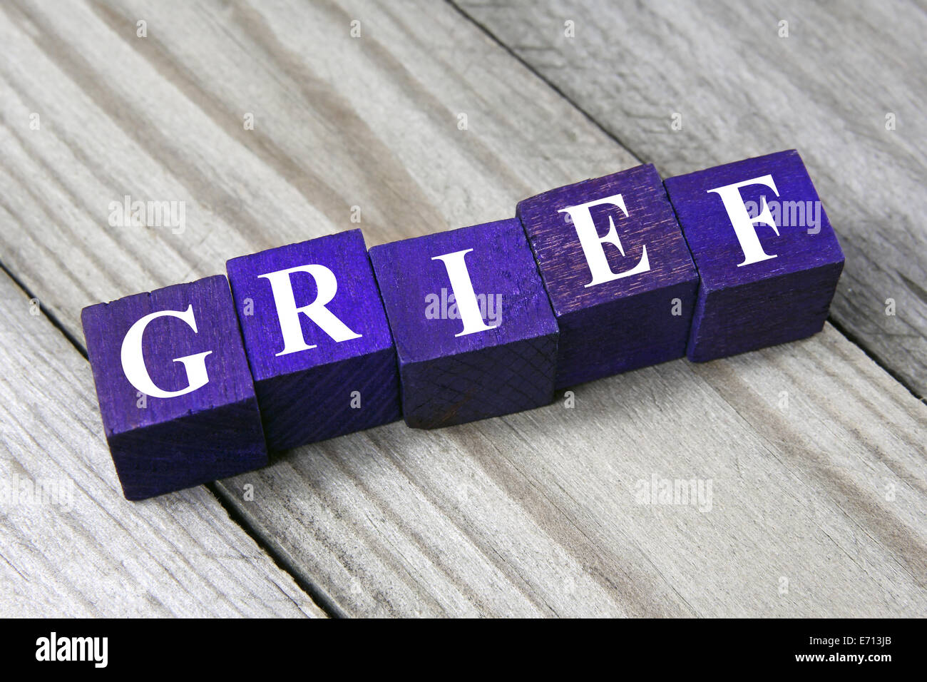 word grief on wooden cubes - Stock Image