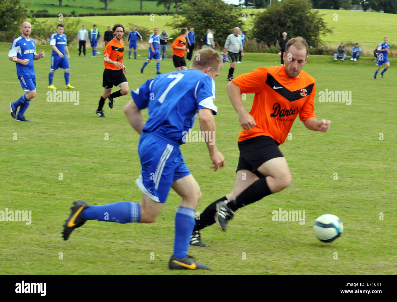 Dumfries Sunday Amateur Football League Kings Arms 2 Jolly Harvester 1 Whitehills Park Lochmaben Sunday August 24th - Stock Image