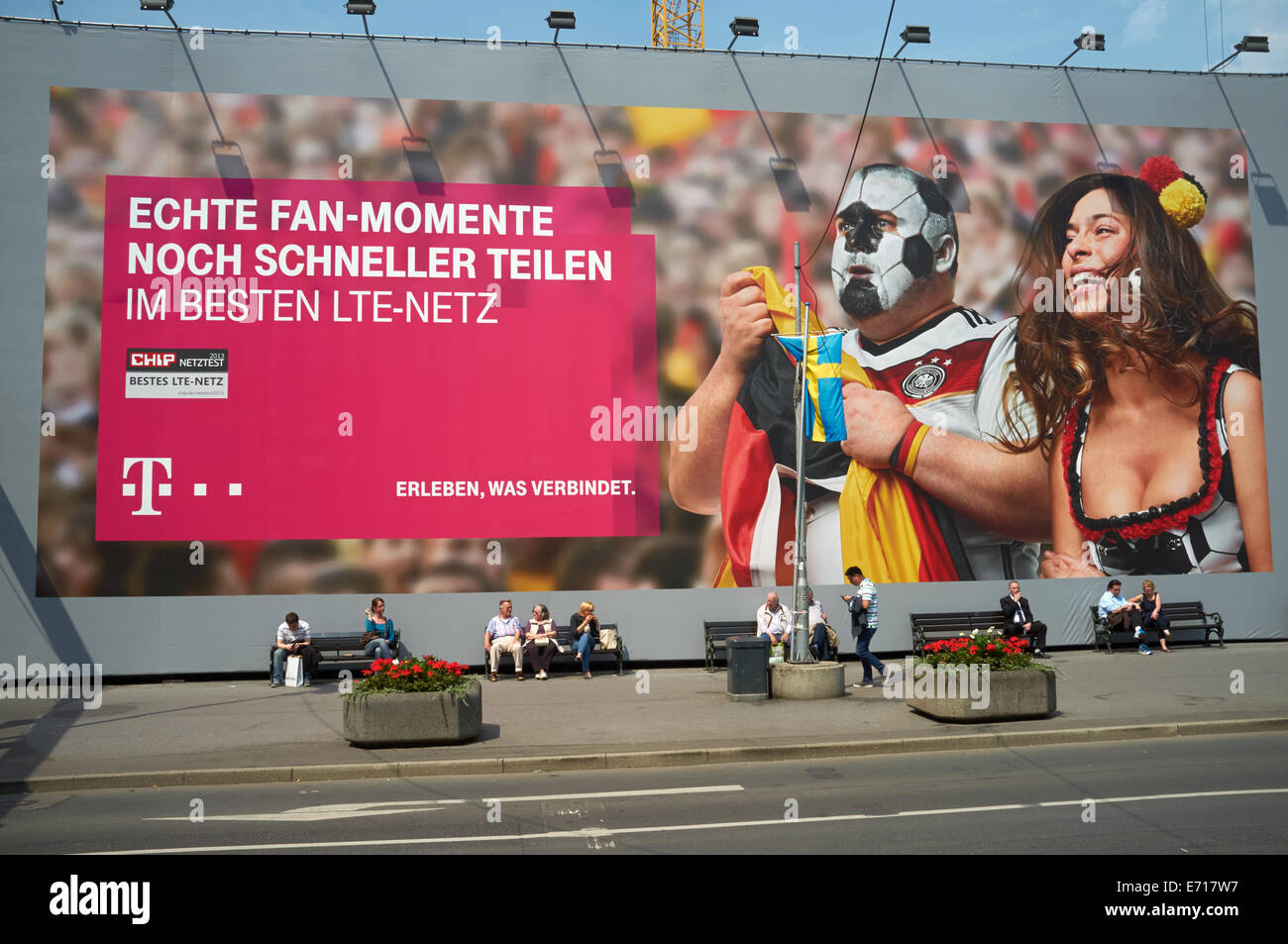 T Mobile billboard advert during the World Cup 2014, Dusseldorf, Germany. - Stock Image
