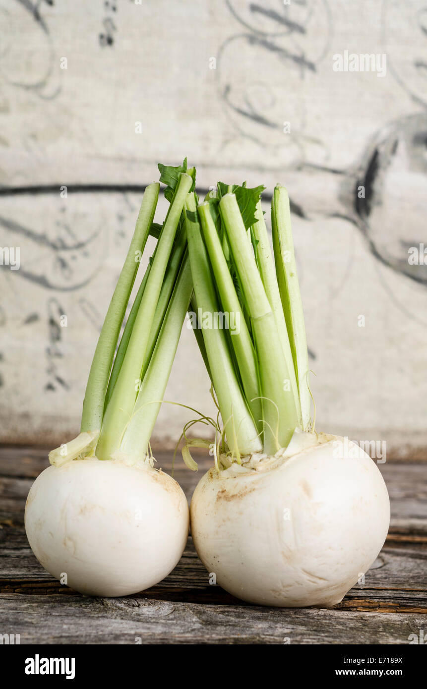 May Turnips Brassica Rapa Subsp Rapa Var Majalis On Wood Stock Photo Alamy