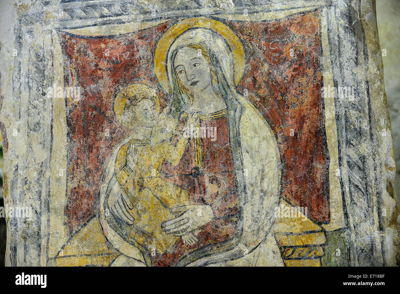 Italy Basilicata Matera Rupestrian Church of Santa Lucia alle Malve Fresco of the Madonna and Child Stock Photo