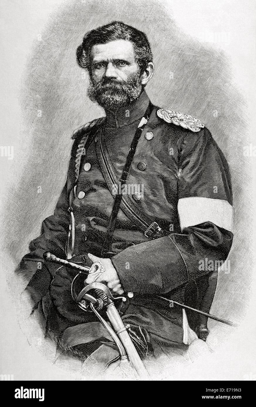 Edwin Freiherr von Manteuffel (1809-1885). German Generalfeldmarschall. Engraving by G. Klose. Historia Universal, - Stock Image
