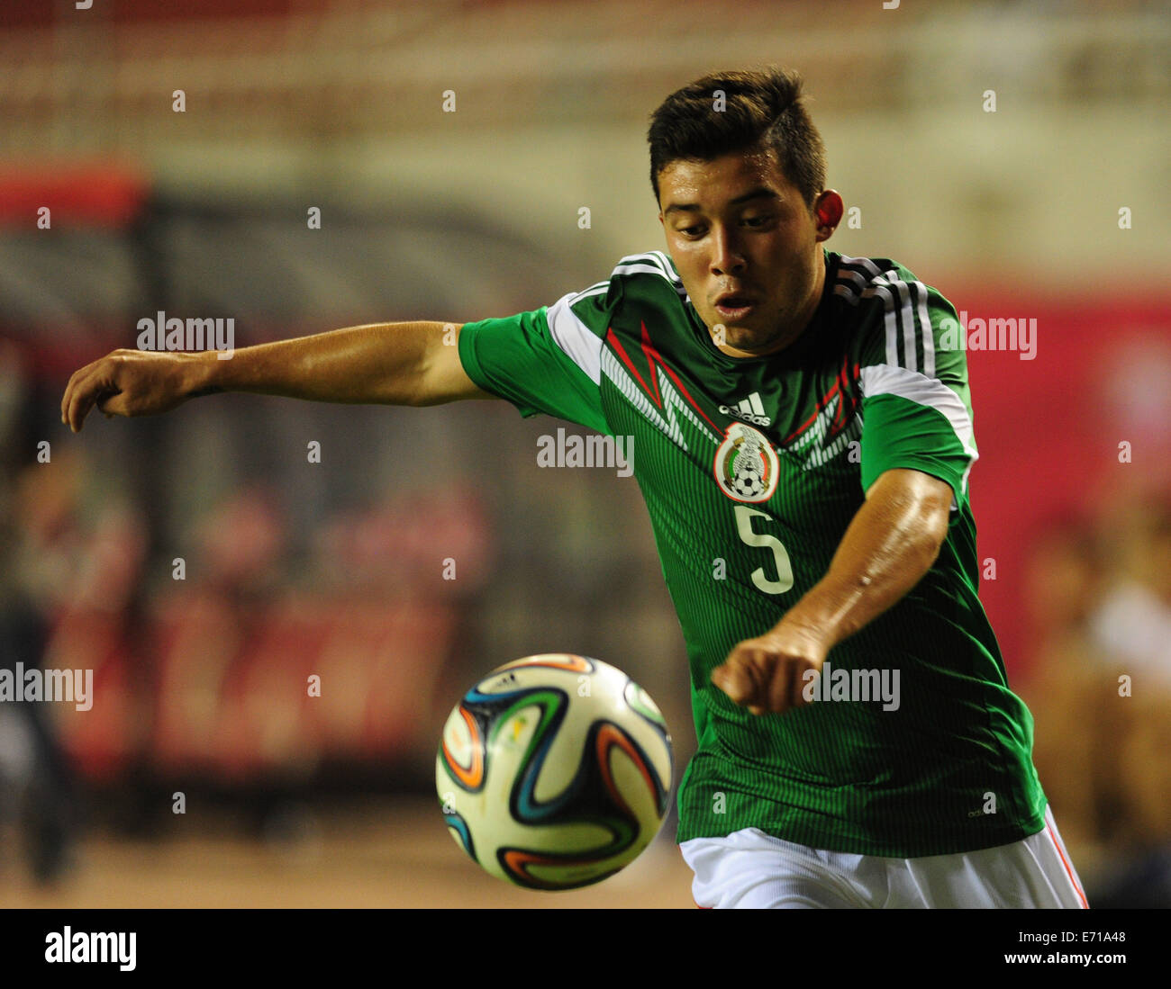 Xi'an, China's Shaanxi Province. 3rd Sep, 2014. Mexican U19 team's Gutierrez Rusel breaks through during - Stock Image