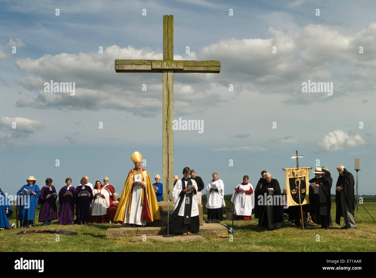Bishop of Norwich pilgrimage an interdenominational church service at the ruined abbey St Benets. Ludham Norfolk - Stock Image