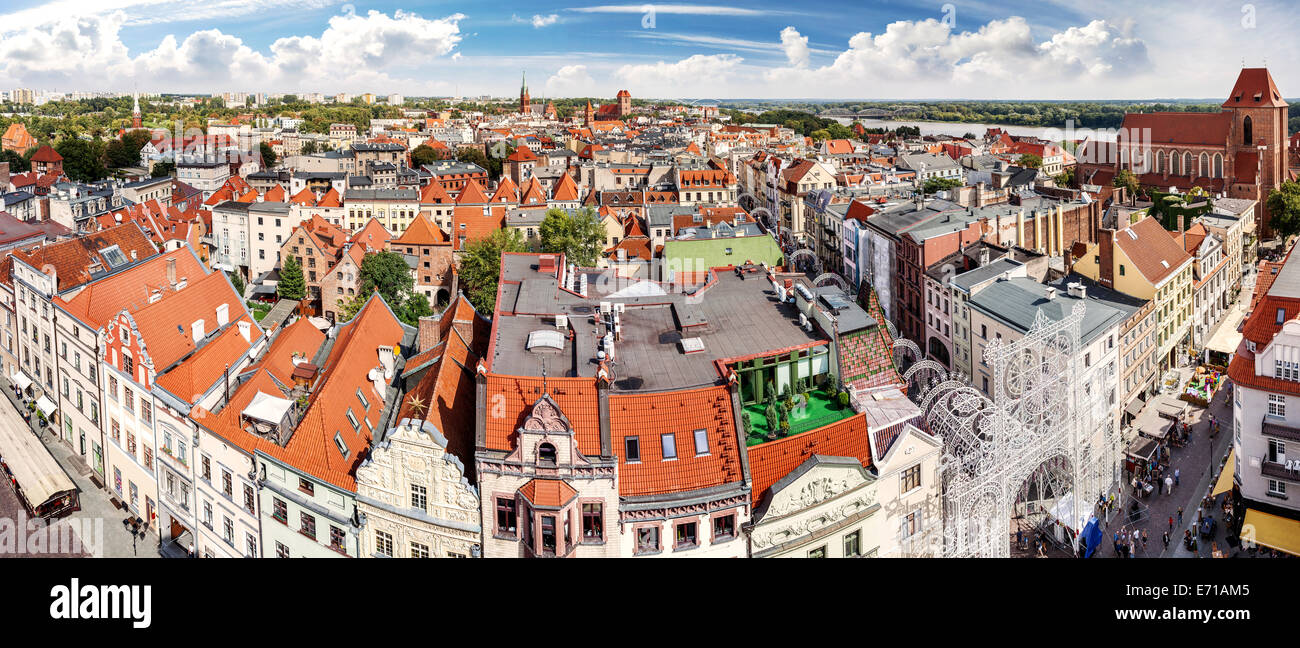 High resolution panorama of Torun, Poland. - Stock Image