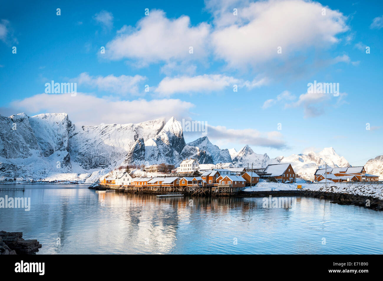 The village of Sakrisoy on a bright winter's day - Stock Image
