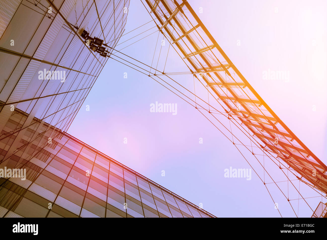 Germany, Berlin, Modern Architecture, Buildings, Glass facade and steel - Stock Image