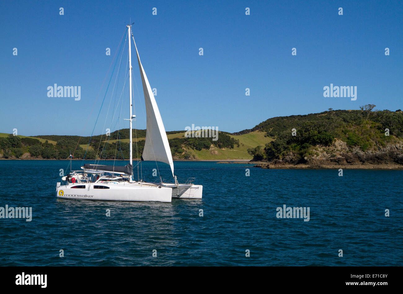 Catamaran in the Bay of Islands, North Island, New Zealand. - Stock Image