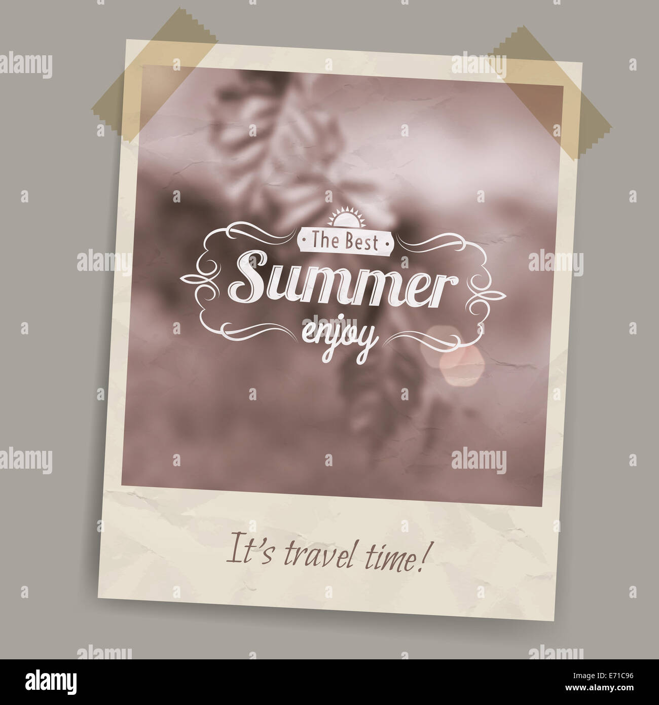 Blurred summer background in brown tones and sepia on a postcard or photo stuck on transparent tape - Stock Image
