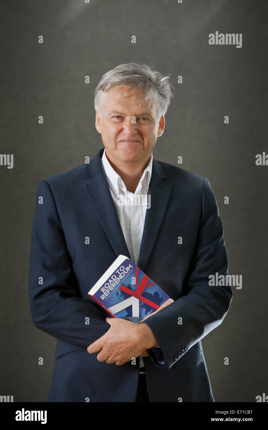 Iain Macwhirter, political commentator, journalist and author, at the Edinburgh International Book Festival 2014. - Stock Image