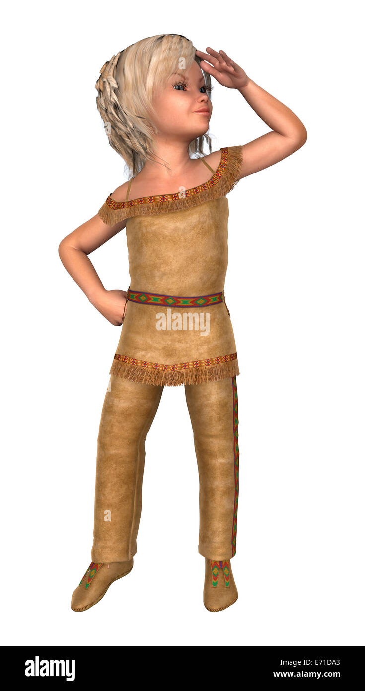 3D digital render of a cute little girl in an indiana costume isolated on white background  sc 1 st  Alamy & 3D digital render of a cute little girl in an indiana costume Stock ...