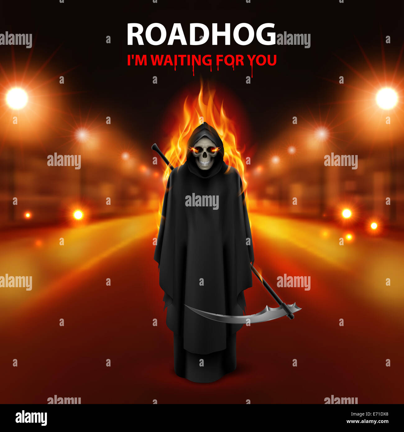 Roadhog Ilustration With Burning Scary Scytheman And Text I Am Stock