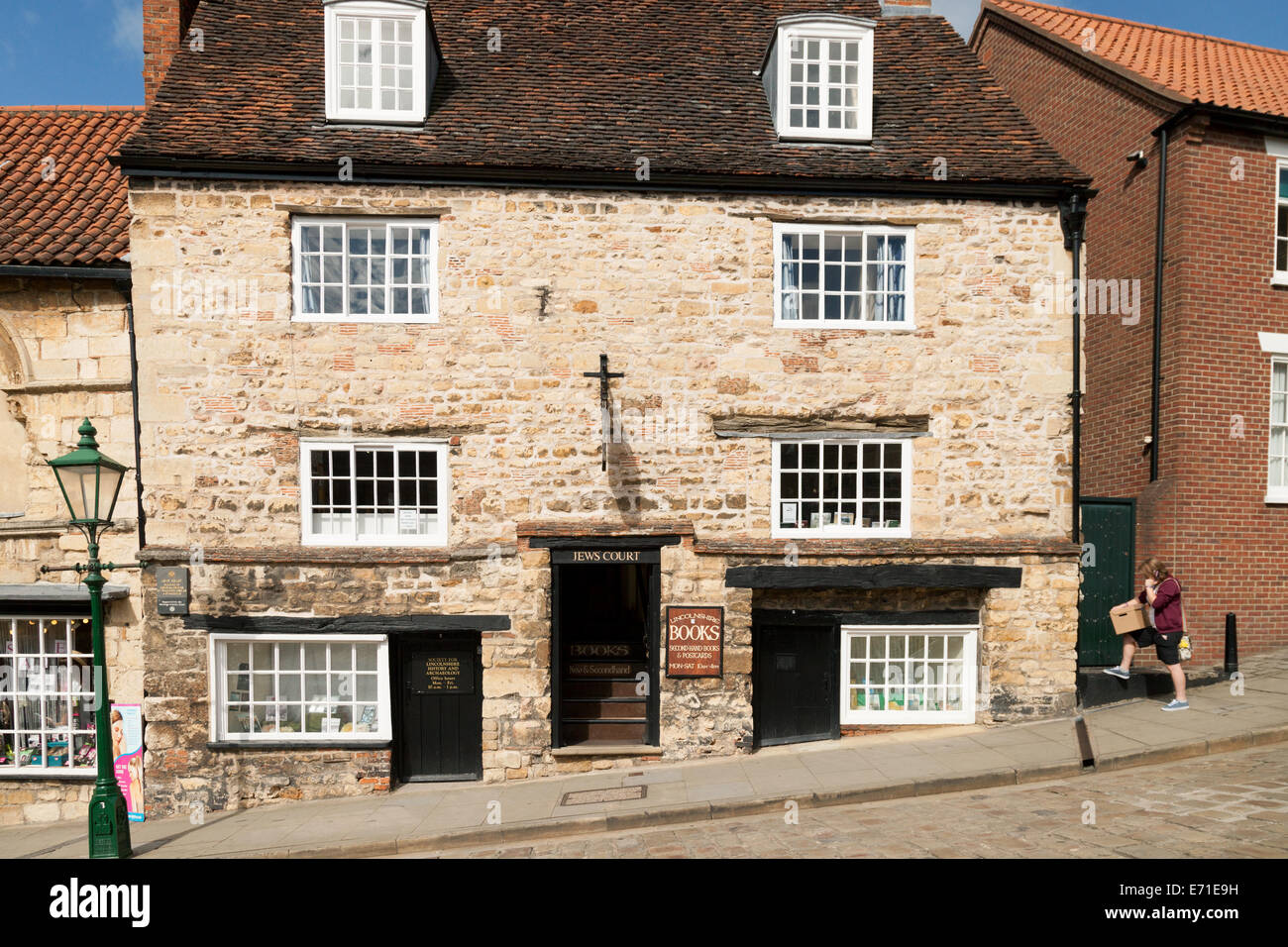 Jews Court, a medieval 12th century building, and the oldest jewish Synagogue in the UK,  Steep Hill, Lincoln Lincolnshire - Stock Image
