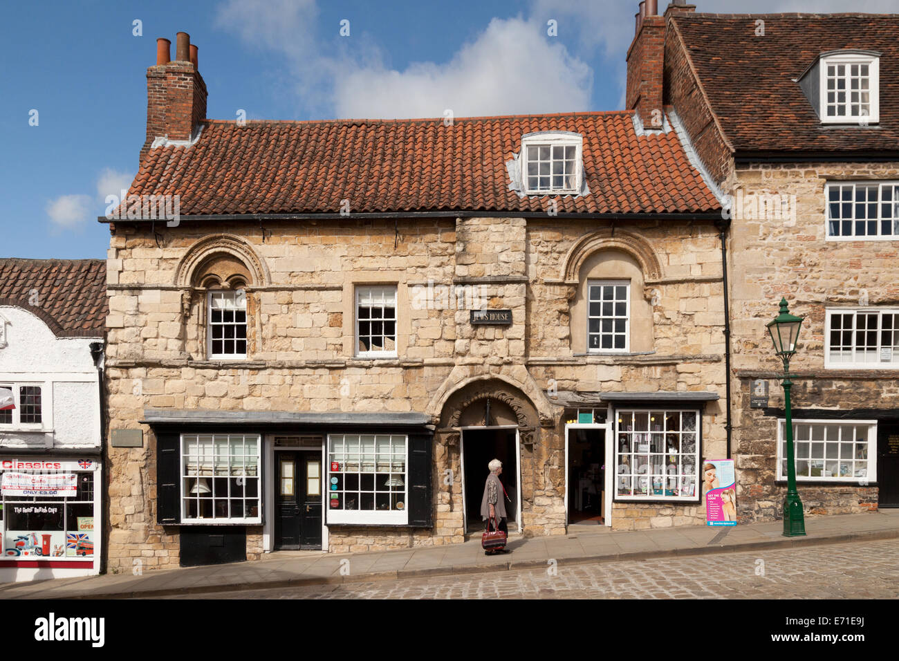 The Jews House, a medieval 12th century building;  on Steep Hill, Lincoln Lincolnshire UK - Stock Image