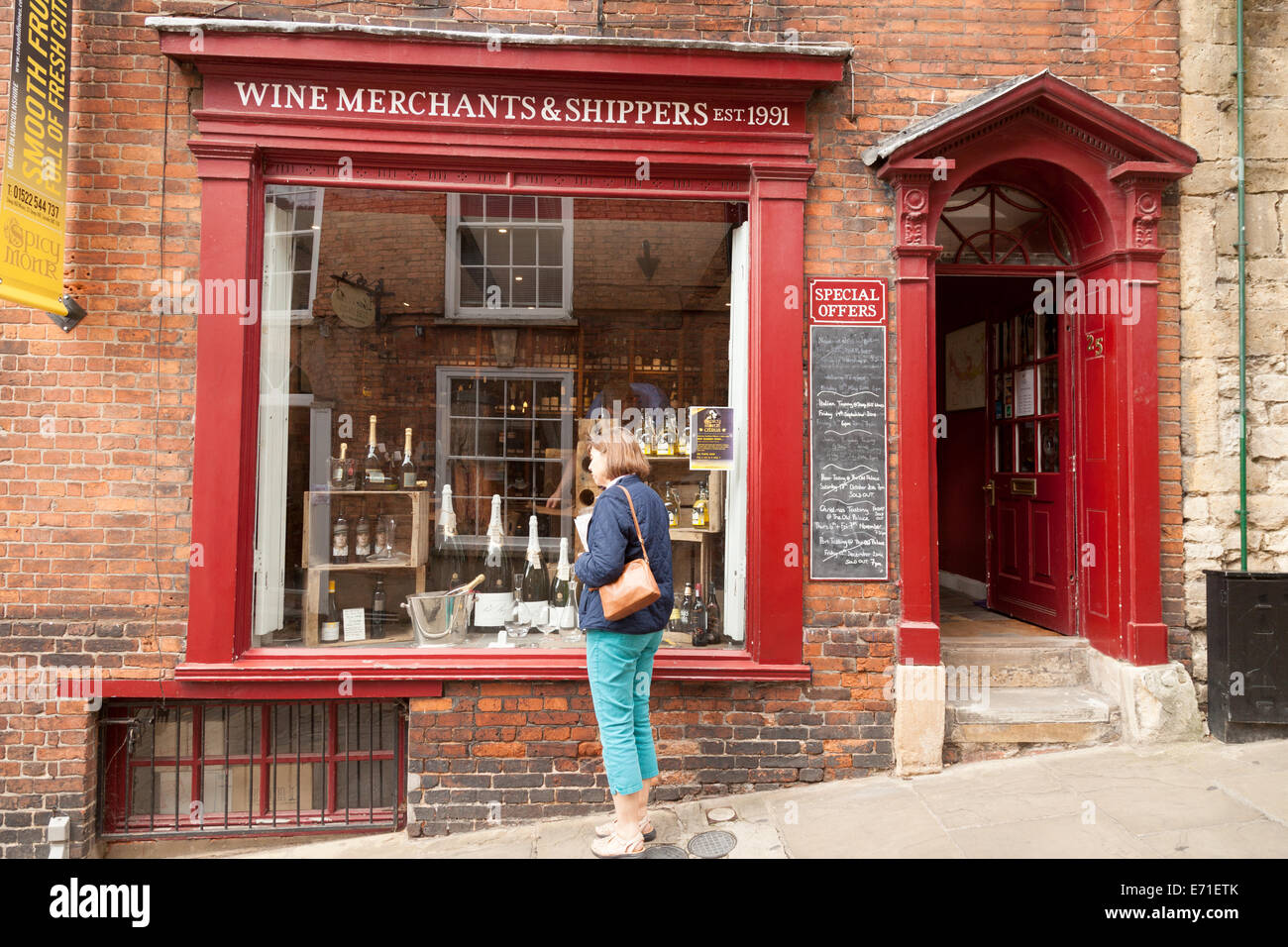 A wine merchants shop, Steep Hill, Lincoln UK - Stock Image