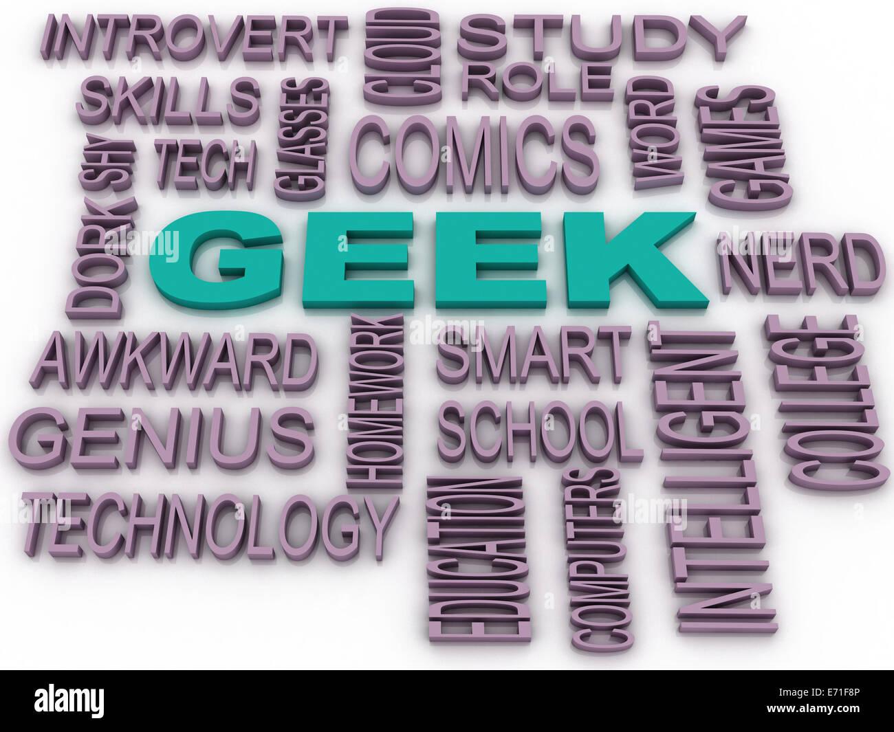3d imagen Geek Word Cloud Concept - Stock Image