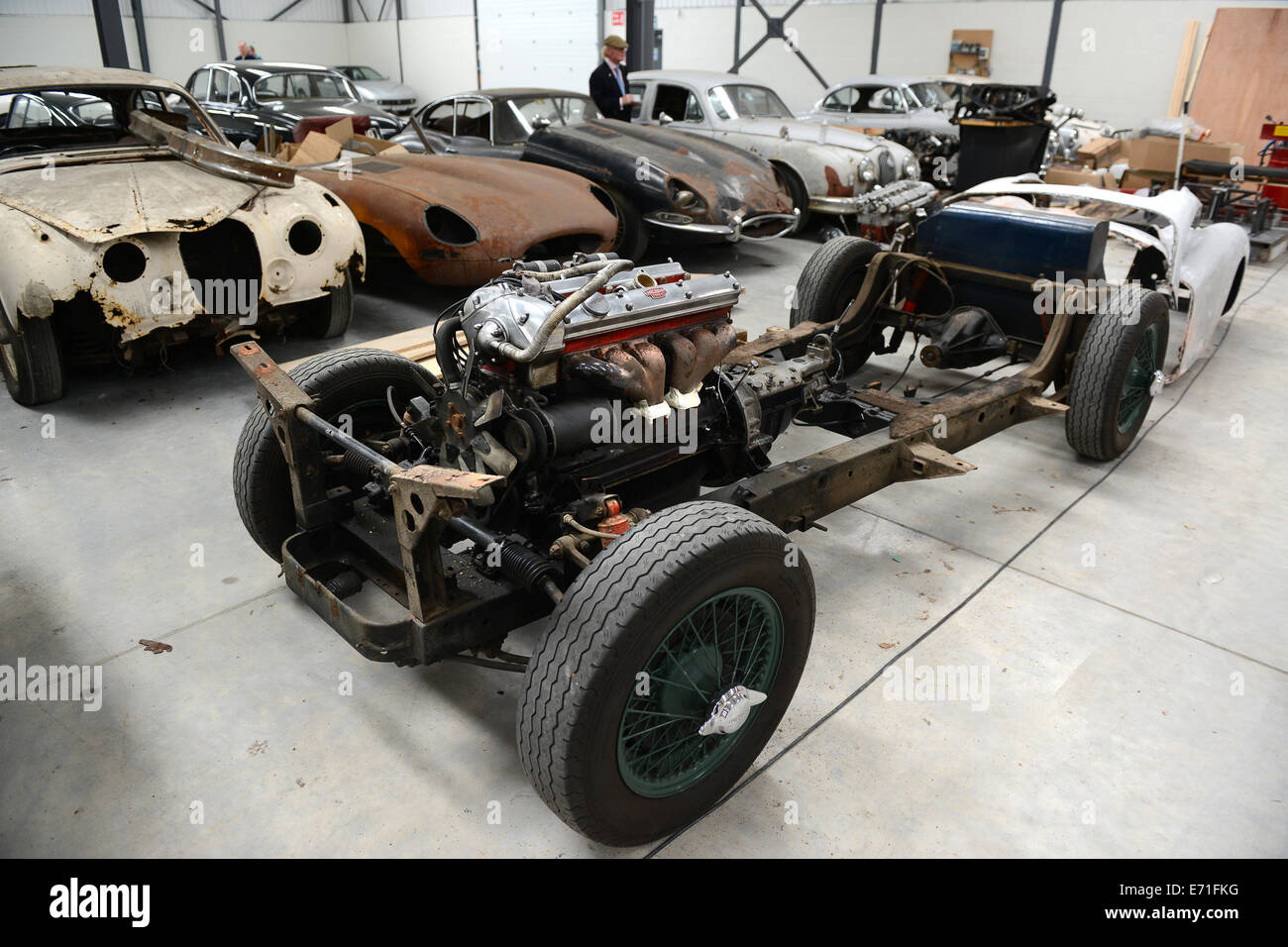 Old vintage cars Jaguar car waiting to be restored at Classic Motor ...