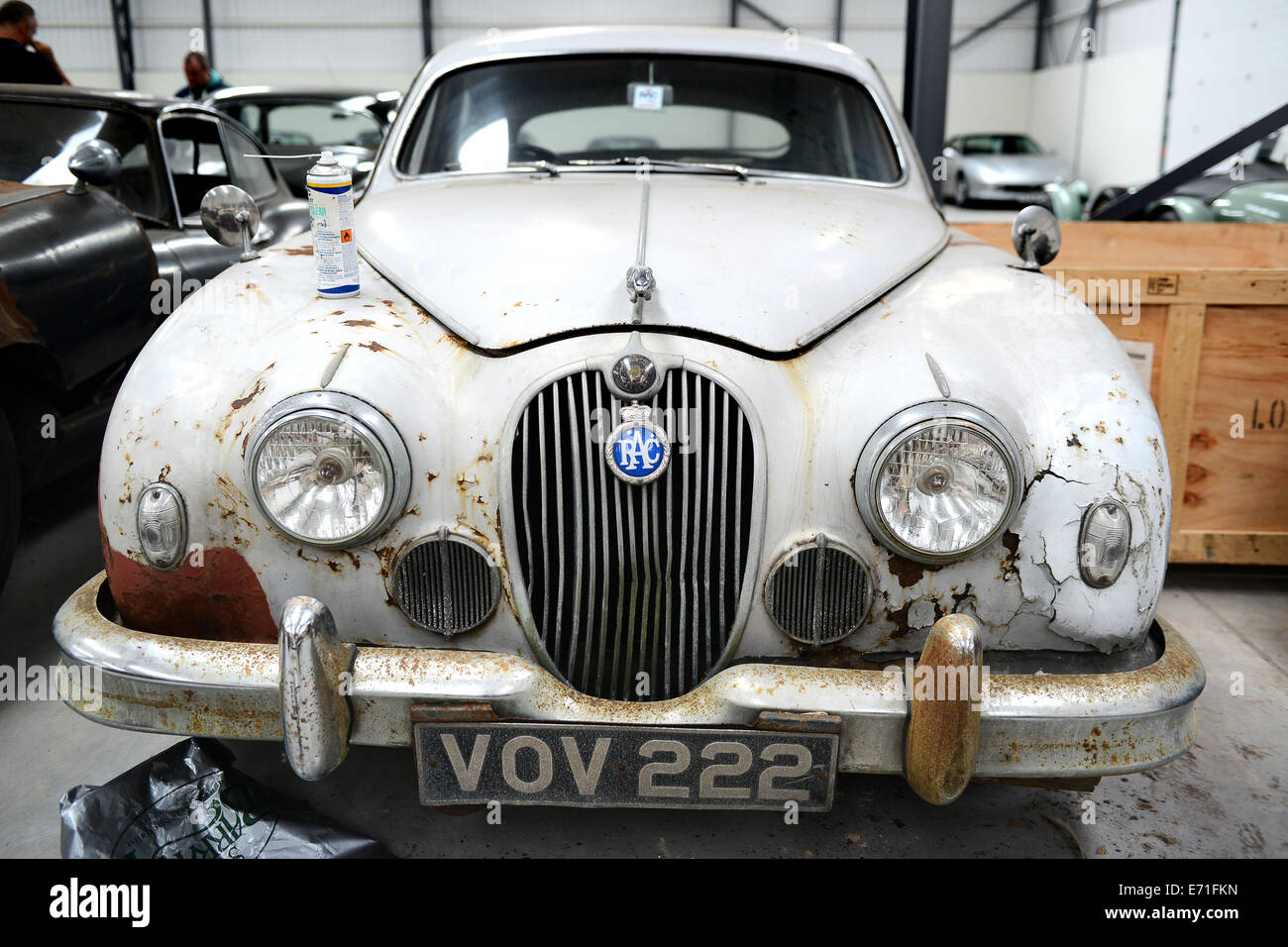 Old Vintage Cars Jaguar Car Waiting To Be Restored At Classic Motor Stock Photo Alamy