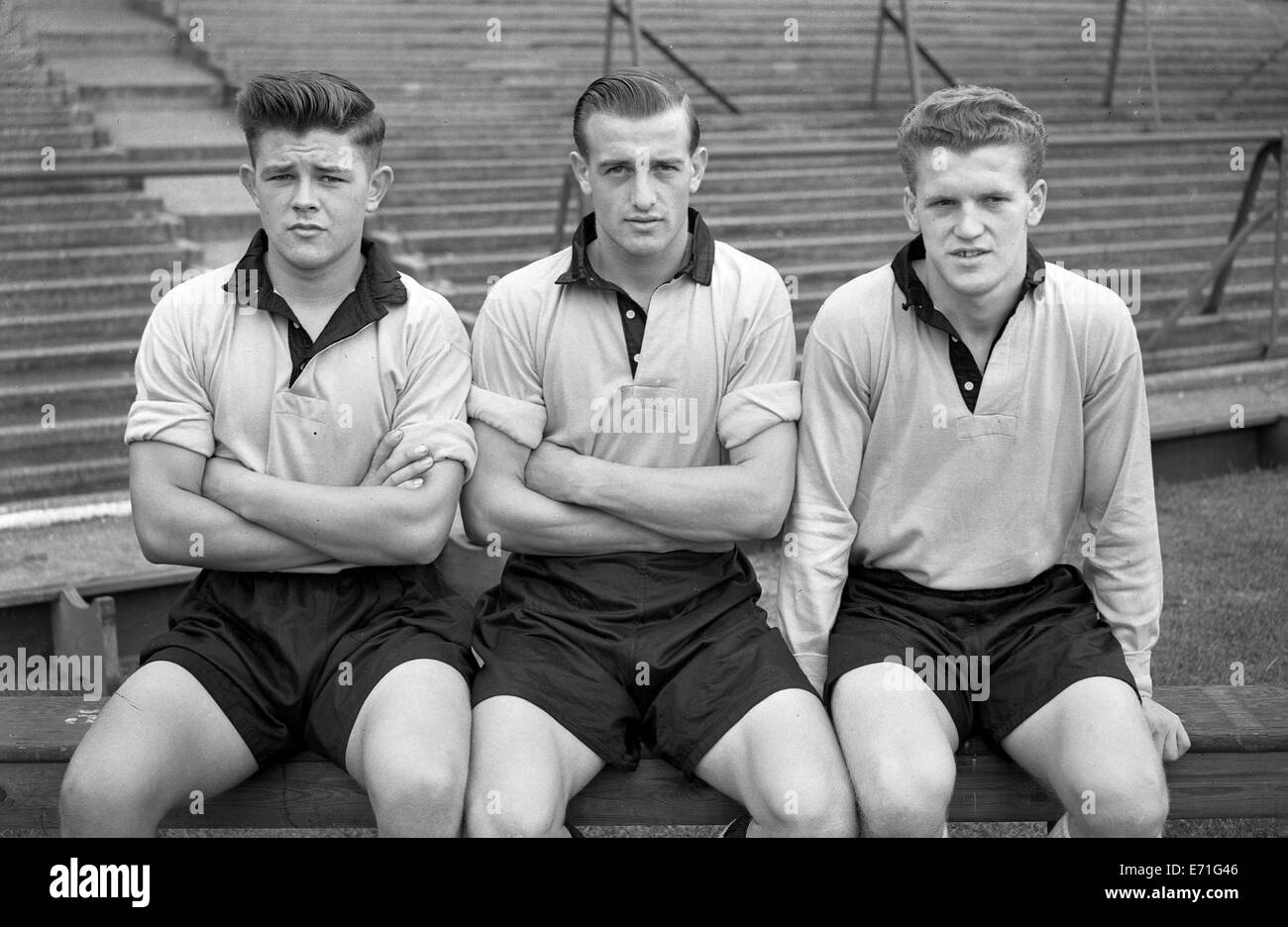 Colin Tether, Gerry Harris and Bobby Thompson Wolverhampton Wanderers footballer 1955 - Stock Image