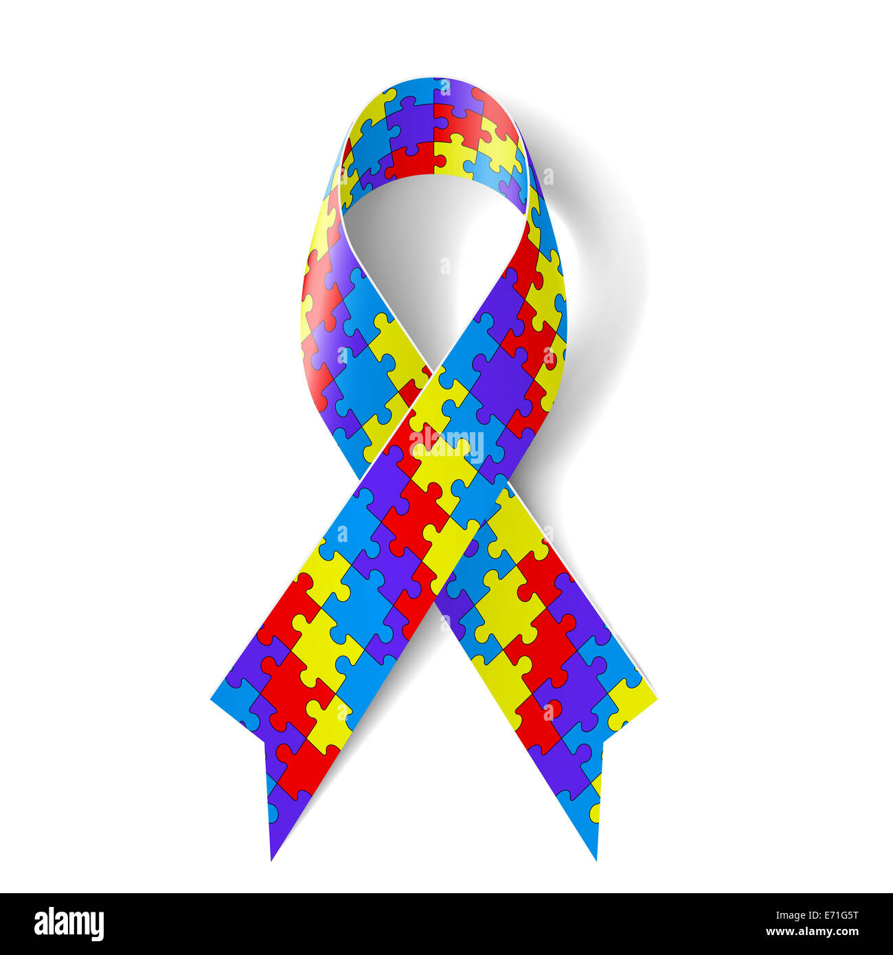 Colorful Puzzle Ribbon As Symbol Autism Awareness Stock Photo
