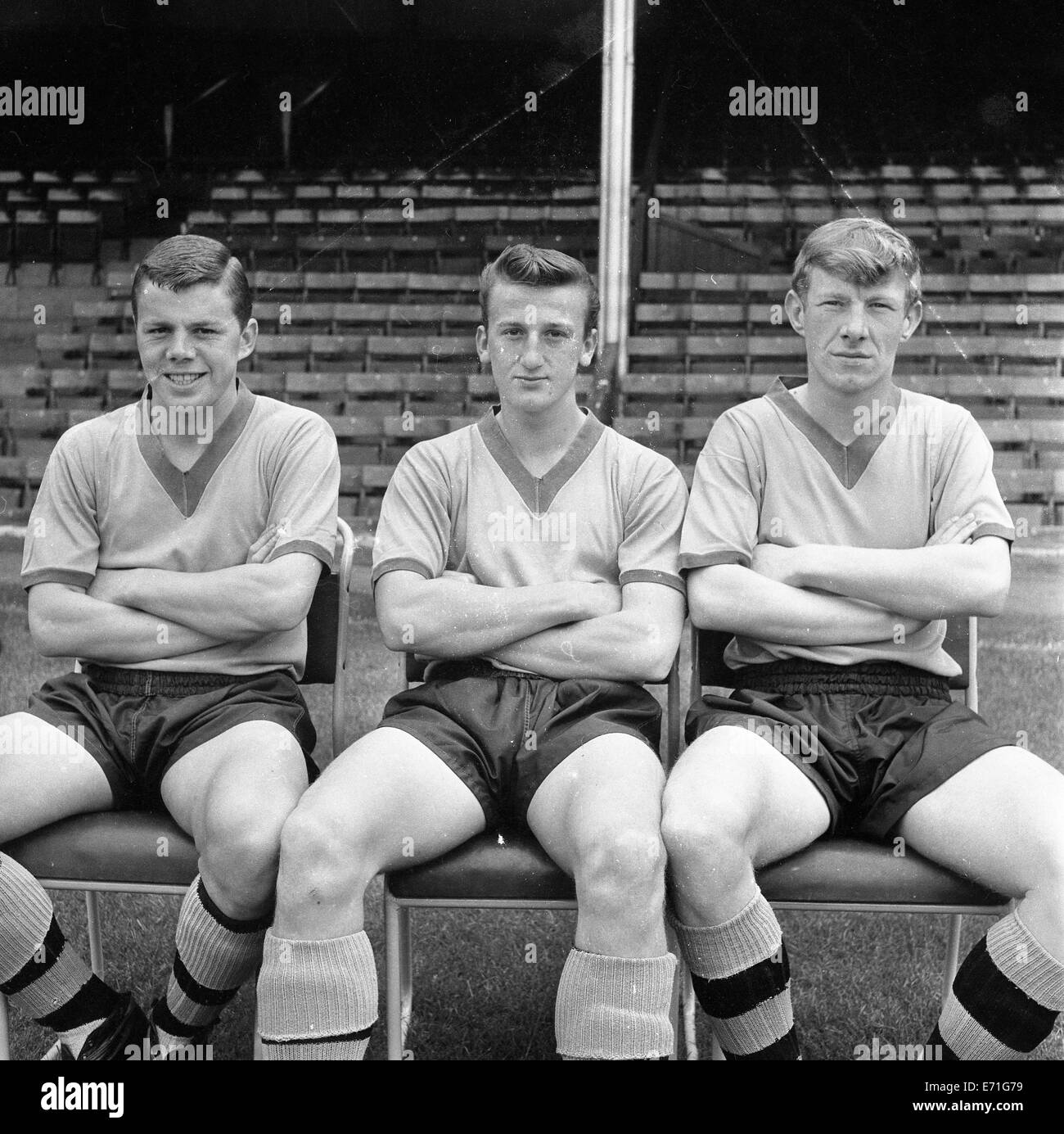 Vic Povey, Clive Ford and Alan Hinton Wolverhampton Wanderers footballer August 3rd 1962 - Stock Image
