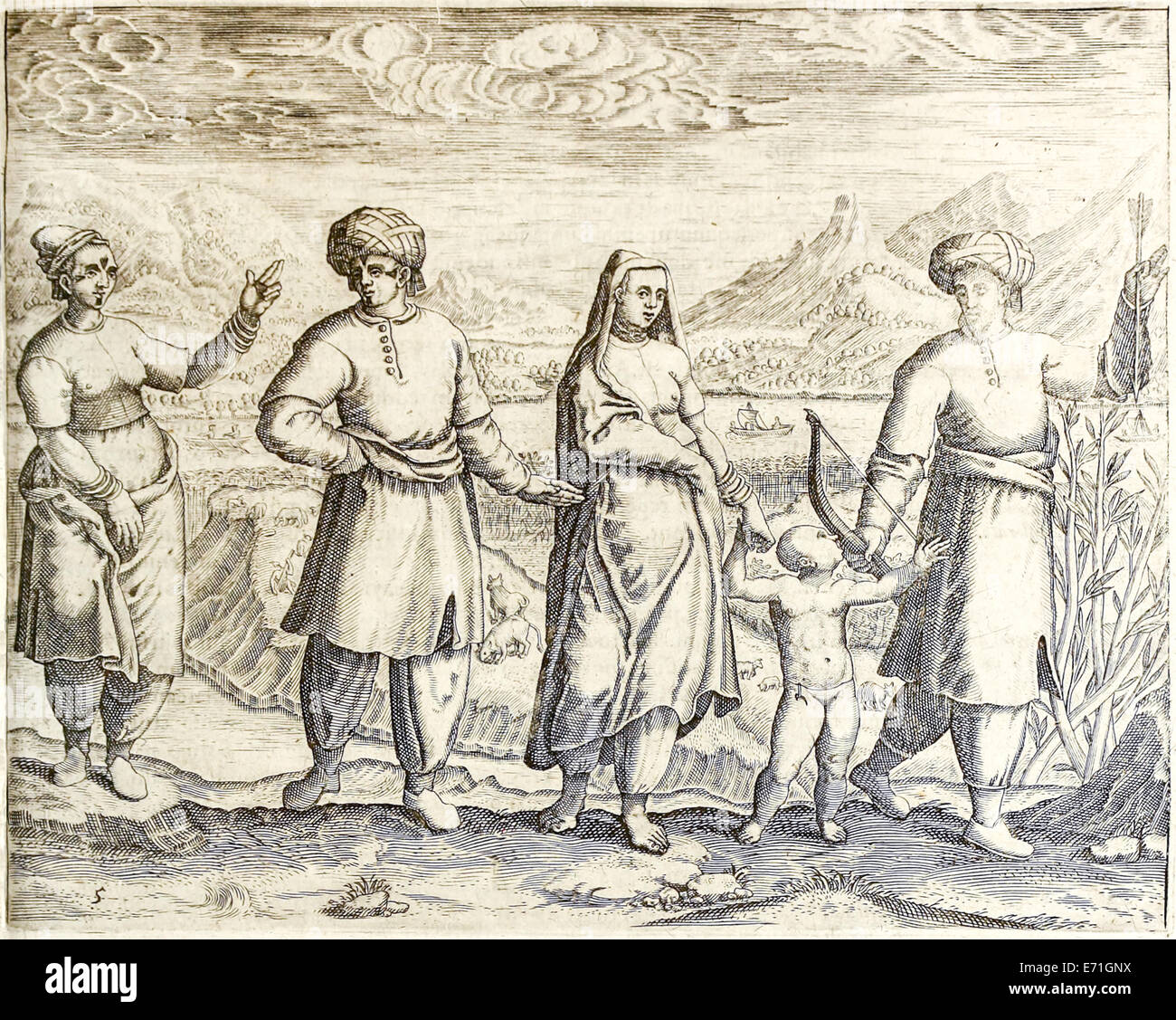 "Arab and Ethiopian inhabitants of Goa from ""Indiae Orientalis"" 1599 by  Theodor de Bry. See description for further information."
