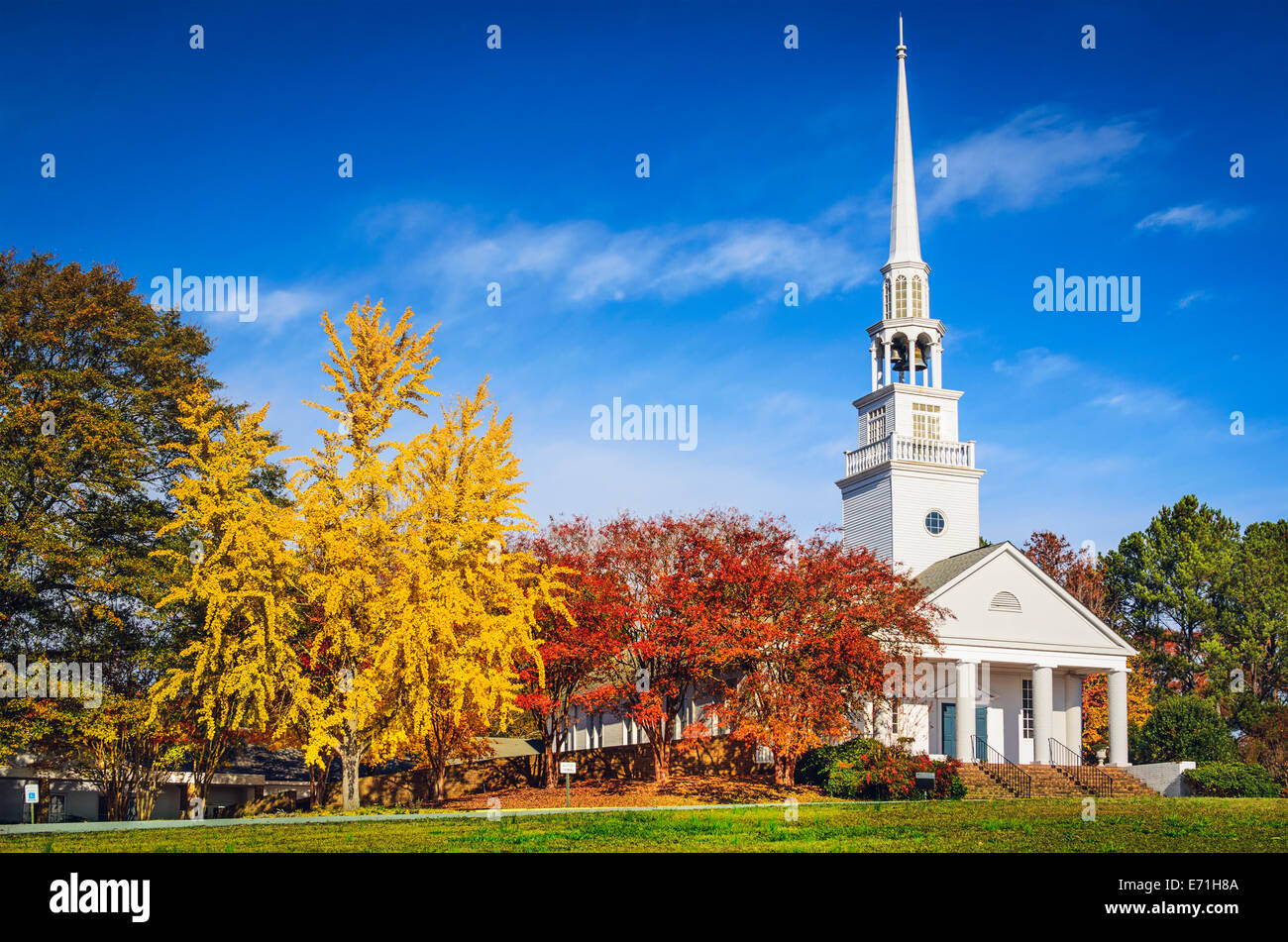 Traditional southern church in the autumn season. - Stock Image