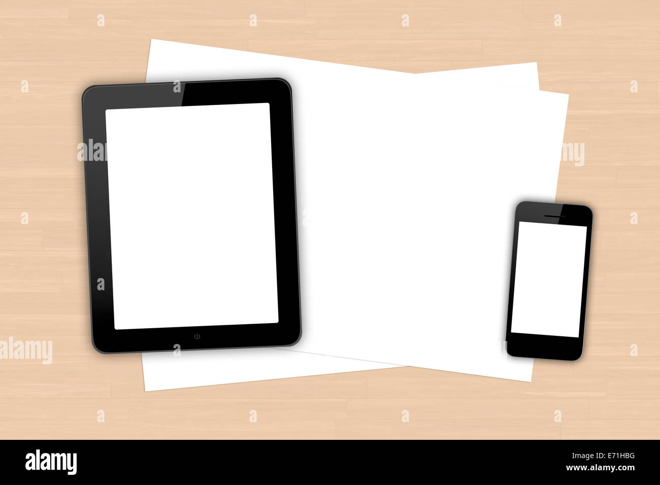 Top view of blank white screen smart phone, digital tablet and paper sheet on wooden table. - Stock Image