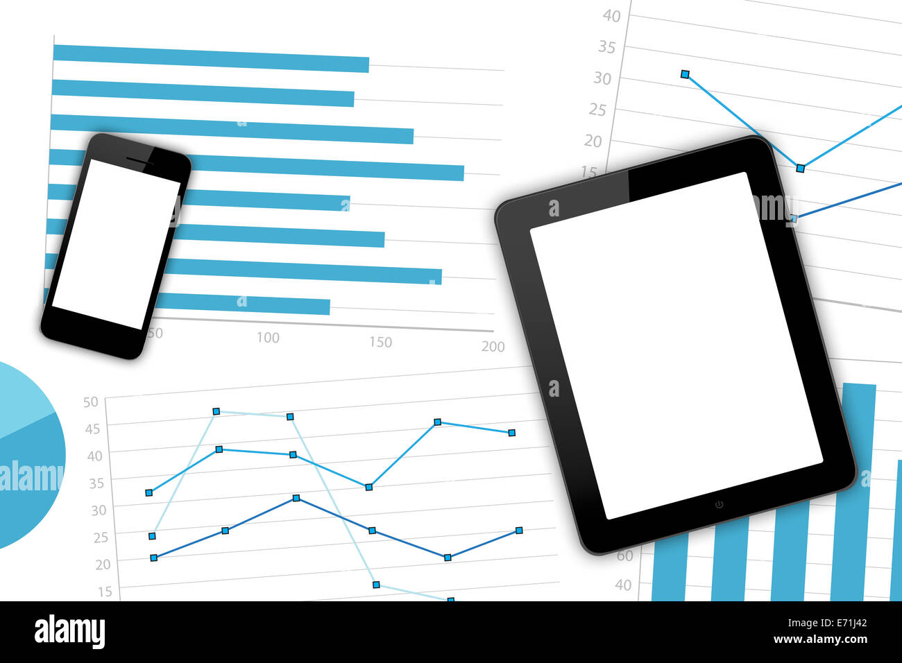 Top view of modern workplace with blank white screen smart phone, digital tablet and paper sheet with financial - Stock Image
