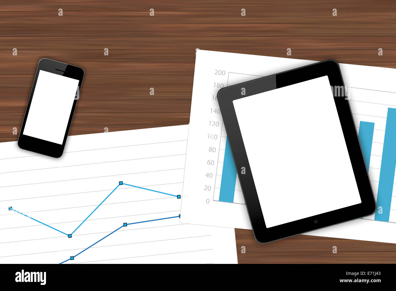 Top view of workplace with smart phone, digital tablet and paper sheet with financial charts on wooden office table. - Stock Image